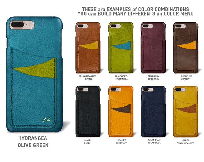 """UNIVERSAL iPhone case 8 7 and 6S/6 Plus 5.5"""" Italian Leather Case 3 cards holder vertical Slots Type 1 choose color of BODY and ACCENT"""