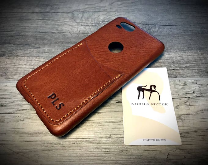 Google Pixel 5 4A 4 3A 3 Pixel 2 Pixel rev. 1 small Italian Leather Case 2 card slots vertical  as protection Choose the Device and Color