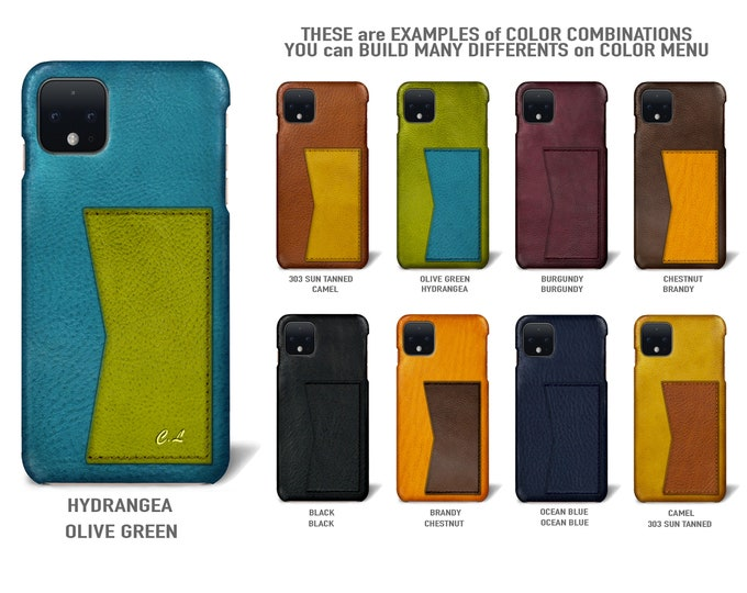 Goole Pixel 4 (smaller one) Italian Leather Case 1 horizontal card slot Type 3H to use as protection Choose COLORS