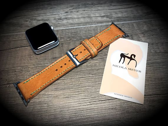 Apple Watch 3 2 1 Wrist Band 42 mm made by Genuine Calf/Horse vegetable tanned leather Buckle SILVER  made in Italy - Tuscany watch strap