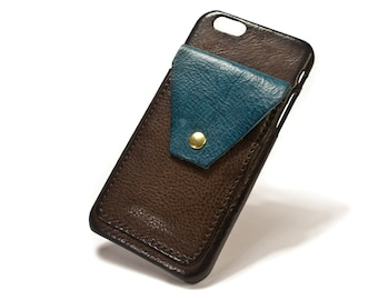 "NEW iPhone 7 4.7"" leather credit card case 2 slots vertical plus a Flap choose colour of BODY and ACCENT"