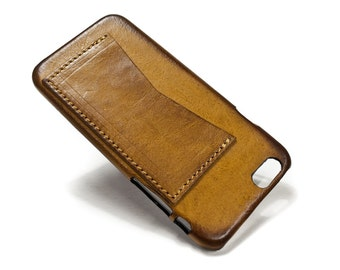 "Iphone 6 Leather Case Washed Leather Aged with credit card holder for 4.7"" & PLUS 5.5"" col CAMEL"