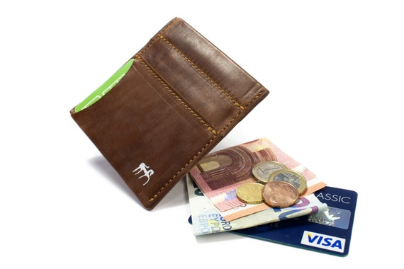 Pak-Pak Credit cards holder and banknote holder coins holder made in Italy vegetable tanned leather choose COLORS