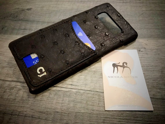 Genuine Ostrich leather case monogrammed iPhones X/8/7/6s/Se/5s or Galaxy Note8/S8/S7 1 card slot up to 3 cards choose Device and Color