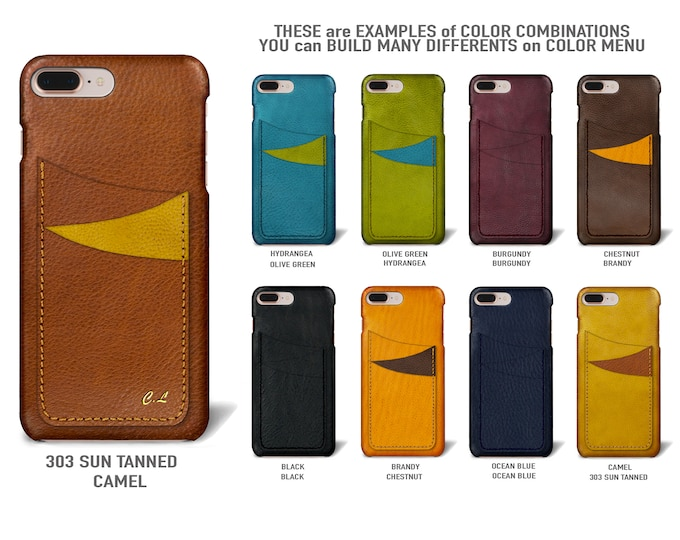 """iPhone 8 and 7 display 4.7"""" Italian Leather Case with 3 vertical SLOTs Type 1 choose the color of BODY and ACCENT"""