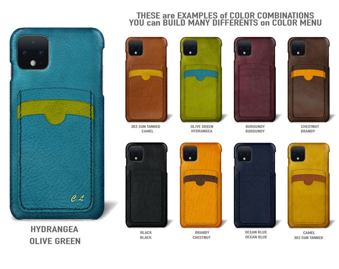 Goole Pixel 4 (smaller one) Italian Leather Case 3 vertical card slots Type 2 to use as protection Choose COLORS