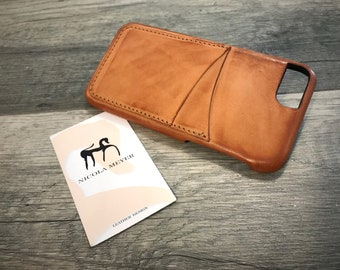 "NEW For SALE 1 Piece iPhone 8 7 6s 6 Universal display 4.7"" Italian Leather Case 2 credit cards holder vertical color Natural Burnished"