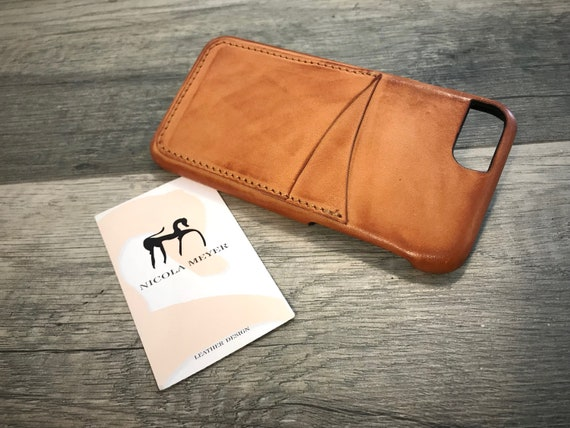 """NEW For SALE 1 Piece iPhone 8 7 6s 6 Universal display 4.7"""" Italian Leather Case 2 credit cards holder vertical color Natural Burnished"""