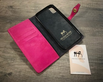 """NEW FOR SALE 1 Piece iPhone X 5.8"""" Italian Leather Case bifold cards holder flip book Color Fucsia"""