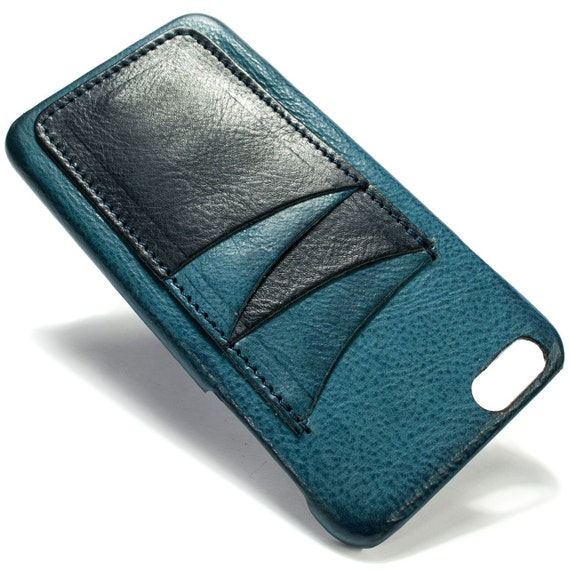 "iPhone 6S PLUS display 5.5"" Italian Leather Case with 4 credit cards holder vertical SLOTs choose the color of BODY and ACCENT"