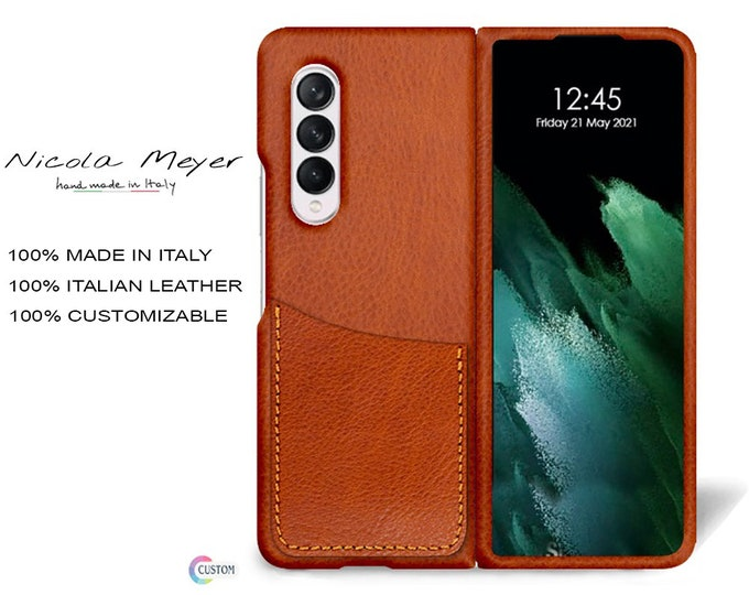 Samsung Galaxy Z FOLD 3 Leather Case genuine natural leather 1 credit card slot TYPE 1 to use as protection colour CHOOSE