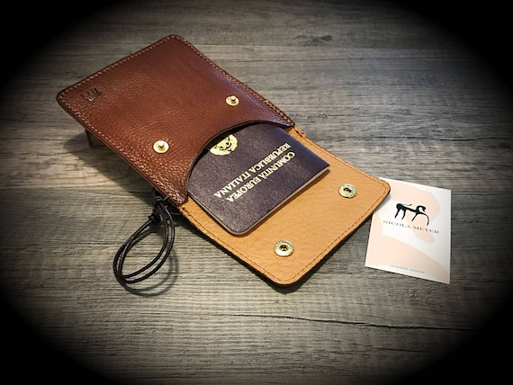 Passport Holder for Neck and Belt with lace adjustable made by Italian Vegetable Tanned Leather