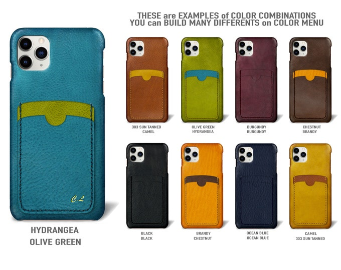 """iPhone 11 Pro display 5.8"""" leather case 2 vertical card slots Type 2 choose colors"""