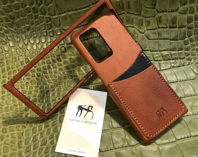 Samsung Galaxy Z FOLD 2 Leather Case genuine natural leather 2 credit card slots TYPE 1 to use as protection colour CHOOSE