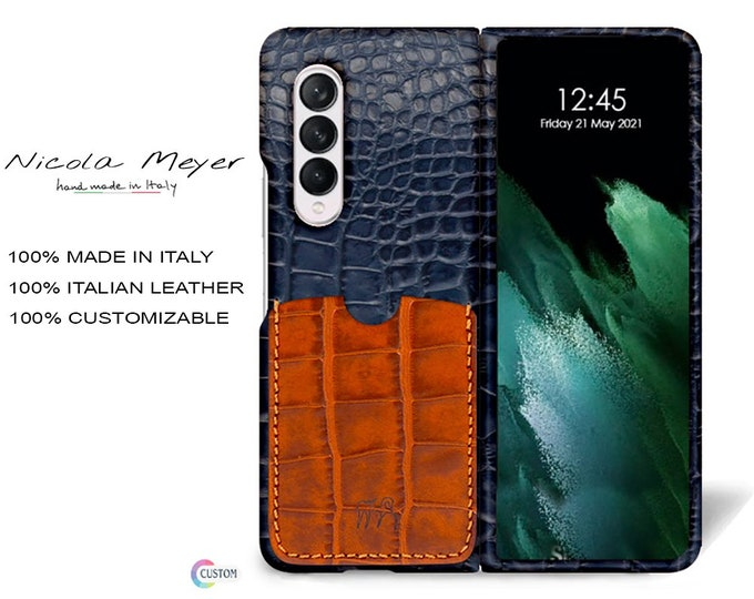 Samsung Galaxy Z FOLD 3 Calfskin Leather Pritned Alligator Pattern Case 1 Slot for cards type 2 genuine natural leather colour to CHOOSE