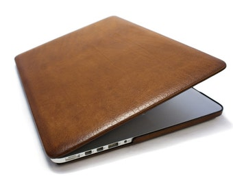 MacBook 12/13/15/16 Hard Top and Bottom leather case made by genuine Italian leather as protection choose Body and Device