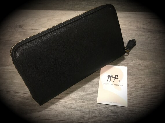 The PERFECT Wallet Iphone 6 Plus Leather Walllet Genuine BUFFALO Leather Case with Zip fastener made in Tuscany Italy col CHARCOAL