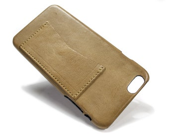 "Iphone 6 Leather Case Washed Leather Aged with credit card holder for 4.7"" & PLUS 5.5"" col TAUPE"