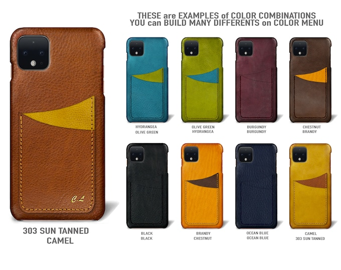 Google Pixel 4 (smaller one) Italian Leather Case 2 vertical card slots Type 1 to use as protection Choose the Color