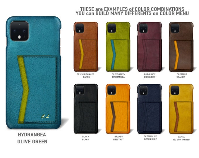 Google Pixel 4 (smaller one) Italian Leather Case 2 card slots horizontal Type 3H to use as protection Choose the Color