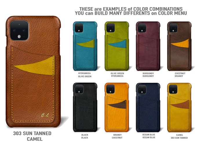 Google Pixel 4 (smaller one) Italian Leather Case 3 card slots vertical Type 1 to use as protection Choose the Device and Color