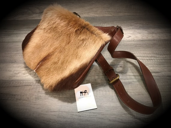 Leather Bag Genuine Italian Leather Flap with Fur for daily use