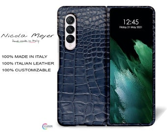 Samsung Galaxy Z FOLD 3 Calfskin Leather Printed Alligator Pattern Case to use as protection color to CHOOSE