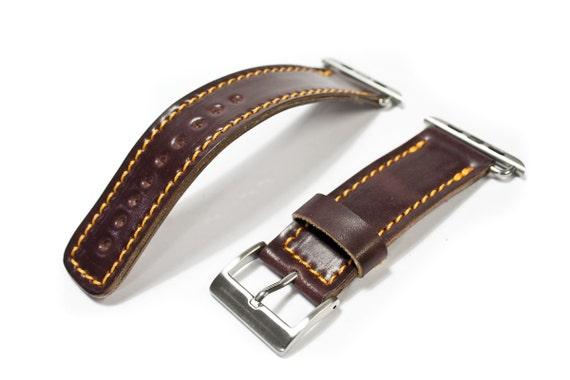 Shell CORDOVAN  Apple Watch Wrist Band 38 mm made by Genuine Shell CORDOVAN Buckle SILVER handcrafted in Italy - watch straps for rev 3 2 1