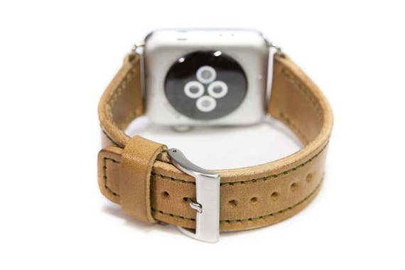 Apple Watch Wrist Band 42 mm made by Genuine SHELL CORDOVAN Buckle SILVER handcrafted in Italy - Tuscany
