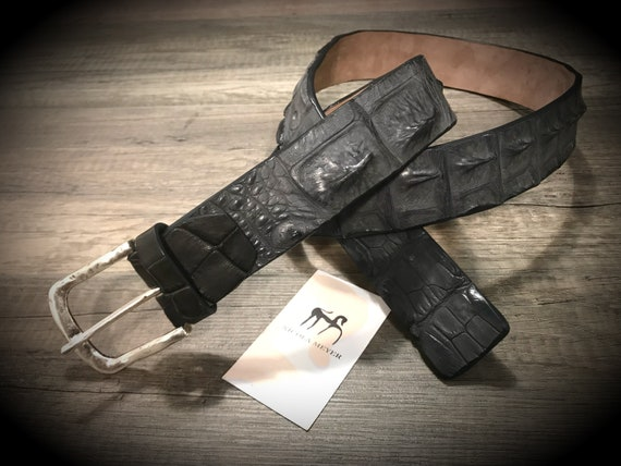 Genuine Alligator Leather Horn Back Belt width 40 mm. 1,57 inches colour GREY in photo can CHOOSE COLOR