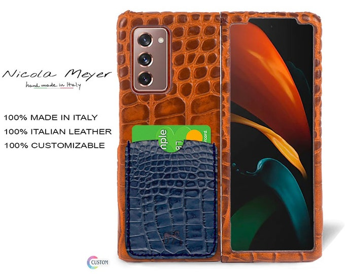 Samsung Galaxy Z FOLD 2 Calfskin Leather Printed Alligator Pattern Case 1 Slot for cards type 2 genuine natural leather colour to CHOOSE