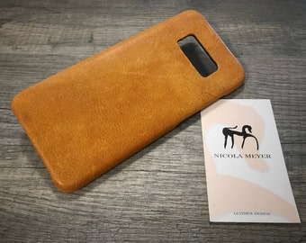 NEW for SALE Only 1 Piece Samsung Galaxy S8 Leather Case genuine natural leather to use as protection YELLOW washed