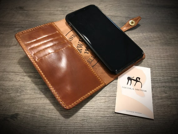 iPhone 11/11PRO/Xs/Xs Max/Xr/X 8 and 8 Plus Shell CORDOVAN Leather Case Wallet Bifold Style for iPhone Galaxy Pixel Huawei choose device