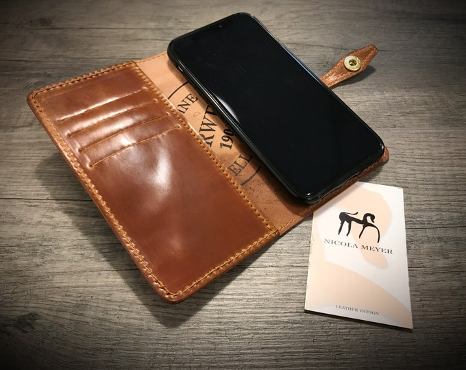 iPhone Shell CORDOVAN Leather Case Wallet Bifold Style for iPhone 11 XS 8 7 6S & 6S PLUS iPhone 5S