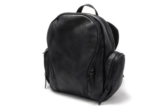 Backpack Rucksack Vintage Look genuine Italian Leather to carry iPad Macbook Documents color to choose in photo DARK GREY