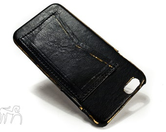 "COPPER LAMINATE iPhone 6 Leather Case Washed Leather Aged with credit card holder for 4.7"" & Plus 5.5"" col BLACK"