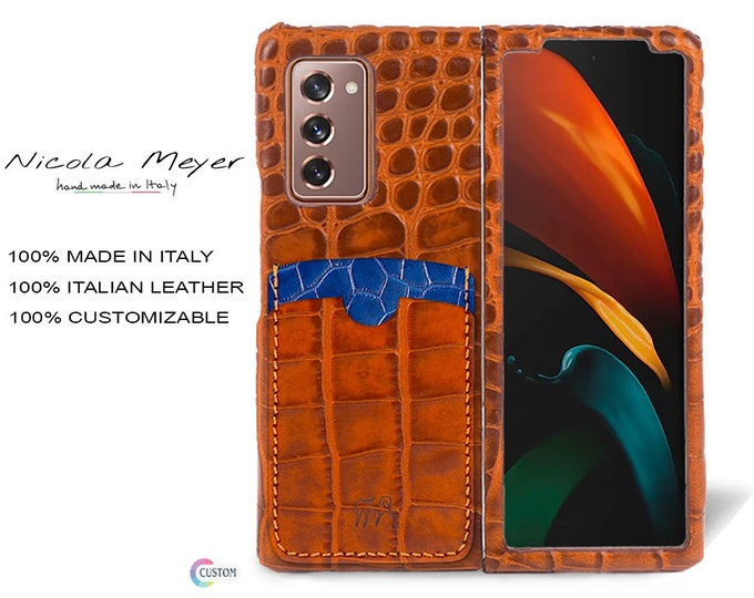 Samsung Galaxy Z FOLD 2 Calfskin Leather Pritned Alligator Pattern Case 2 Slots for cards type 2 genuine natural leather colour to CHOOSE