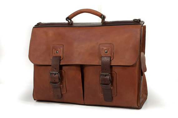 Leather Briefcase Genuine Horse Leather a large one.... Metal Oxidation vegetable tanned leather made in Italy