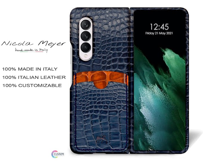 Samsung Galaxy Z FOLD 3 Calfskin Leather Pritned Alligator Pattern Case 2 Slots for cards type 2 genuine natural leather colour to CHOOSE
