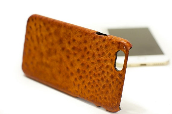"""iPhone 6 Leather Case Washed Leather Aged to use as protection for 4.7"""" & PLUS 5.5"""" col BRANDY"""