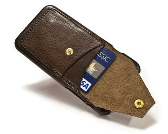 "NEW iPhone X 5.8"" leather credit card case 2 slots vertical plus a Flap choose colour of BODY and ACCENT"