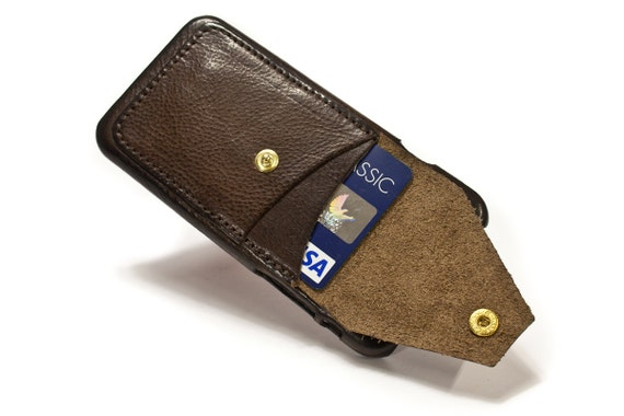 "iPhone XS e X 5.8"" leather credit card case 2 slots vertical plus a Flap choose colour of Body and Accent"