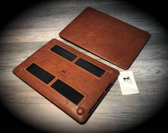 MacBook 11/12/13/15/16 Leather Hard Case made by genuine Italian leather as protection choose Color and Device