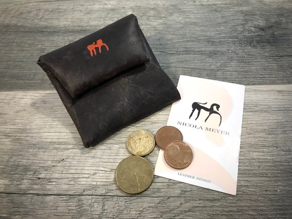 Coin Holder with snaps Italian Vegetable Tanned Leather color SEAL BROWN washed