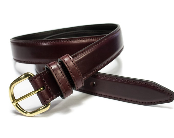 Genuine Shell Cordovan Leather Belt width 35 mm. 1,35 inches colour Burgundy