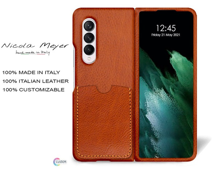 Samsung Galaxy Z FOLD 3 Leather Case genuine natural leather 1 credit card slot TYPE 2 to use as protection colour CHOOSE