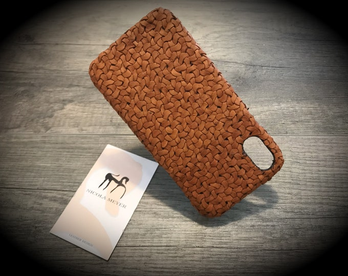 Braided by Hands iPhone Xs Xs Max Xr X-8-8 Plus-7-7 Plus-6S-6S-SE-5S Italian Leather Case to use as protection Choose the DEVICE and COLORS