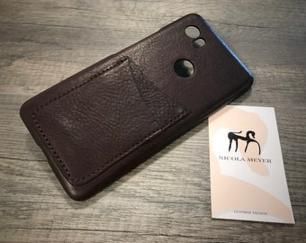 NEW For SALE 1 Piece Google Pixel 2 XL Italian Leather Case 2 cards slots to use as protection color 750 Dark Brown
