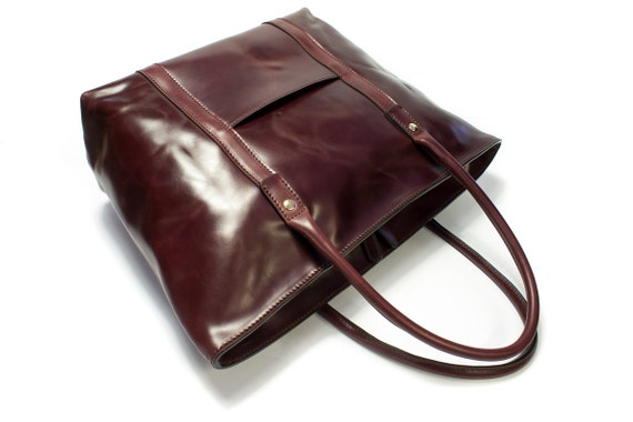 Genuine Shell Cordovan Bag TOTE  Horse Leather vegetable tanned width 48 cm colour Burgundy