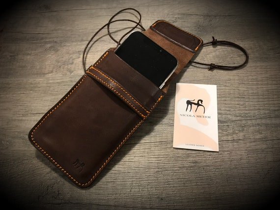 iPhone 7 or 7 Plus SE 5S 4S or 6S or 6S Plus Leather sleeve case customizable made in Italy with neck lace and flap